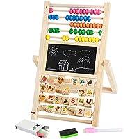 幼児期のゲーム マルチファンクションドローイングボードビルディングブロック両面計算スタンド幼児用デジタル認知玩具(木製)
