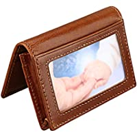 Hibate Slim Leather Credit Card Holder ID Case Wallet RFID Blocking for Men Women