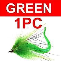DENGHUI,Fishing, 1PCドラゴン尾パイクストリーマバスパイクマスキールアーフライ塩水餌魚ビッグフィッシングDragontailのハエ (色 : 1pc green)