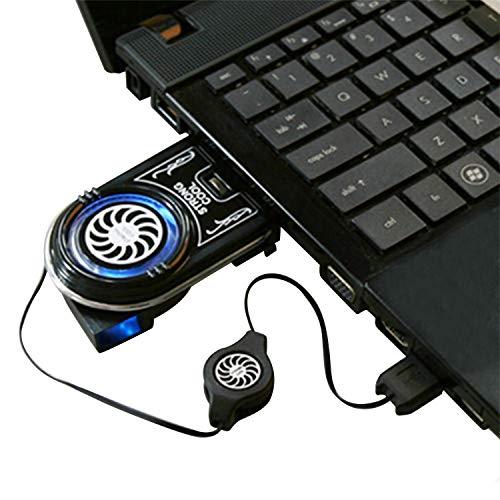 LANEYLI 吸引式 ノートパソコン冷却ファン ノートPCクーラー 冷却パッド 放熱 USBコード 長さ伸縮可能 縦排風口のパソコン向け ファンの排風口調整可能 ブラック