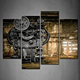 Framed Wall Art Metallurgical Firm Old Machine Pictures Mechanical Canvas Print Home Office Decor