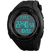 eYotto Mens Sports Watch, Digital Pedometer Watches Fitness Tracker Waterproof Wristwatch Chronograph/Memory/Calorie Tracker for Running Walking Hiking