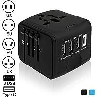 Luxebell 海外旅行充電器 海外旅行用変換プラグ 3USBポートとType-Cポート付(100V~240V) 世界150カ国に対応 安全旅行充電器(US / UK / EU / AU) (ブラックーnew)