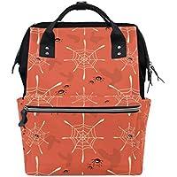 ママバッグ マザーズバッグ リュックサック ハンドバッグ 旅行用 蜘蛛柄 オレンジ ファション