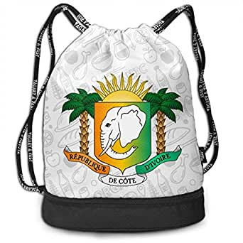 ジムサック コートジボワール国旗の紋章 ナップサック 巾着袋 巾着&バックパック 超軽量 バッグ 男女兼用 大容量 Black One Size