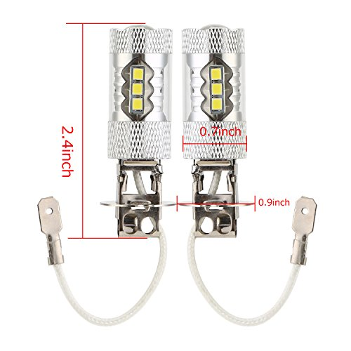 TKOOFN H3 フォグライト LED フォグ ランプ 80W 2835 SMDチップ 16連 6000k ホワイト 2個セット