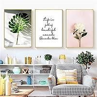 DOLUDOキャンバス絵画 北欧 緑の植物ポスター葉画像花ピンク 壁掛け 壁アート 部屋飾り ベッドルームのリビングルーム装飾 3パネルセット (木枠付きの完成品)40x60cmx3