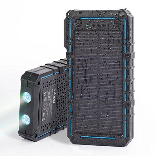 Soluser ソーラーバッテリー 13500mAh ポータブルモバイルバッテリー 大容量充電器 ソーラーチャージャー 2USBポート軽量 携帯充電器 防水蓋付け 耐衝撃薄型 高輝度LEDライト付き 二つの充電方法 iPhone6 6s ipad Android対応旅行キャンプ旅行ハイキング災害時に活躍 SOS信号発信(黒-ブルー)