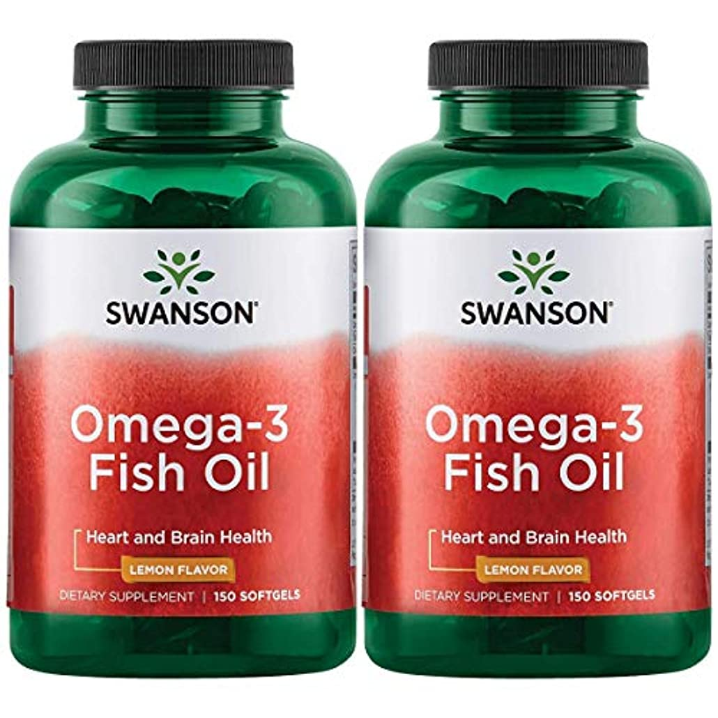 すすり泣き相談熟達Swanson Omega 3 Fish Oil EPA + DHA Lemon Flavor 150粒×2個