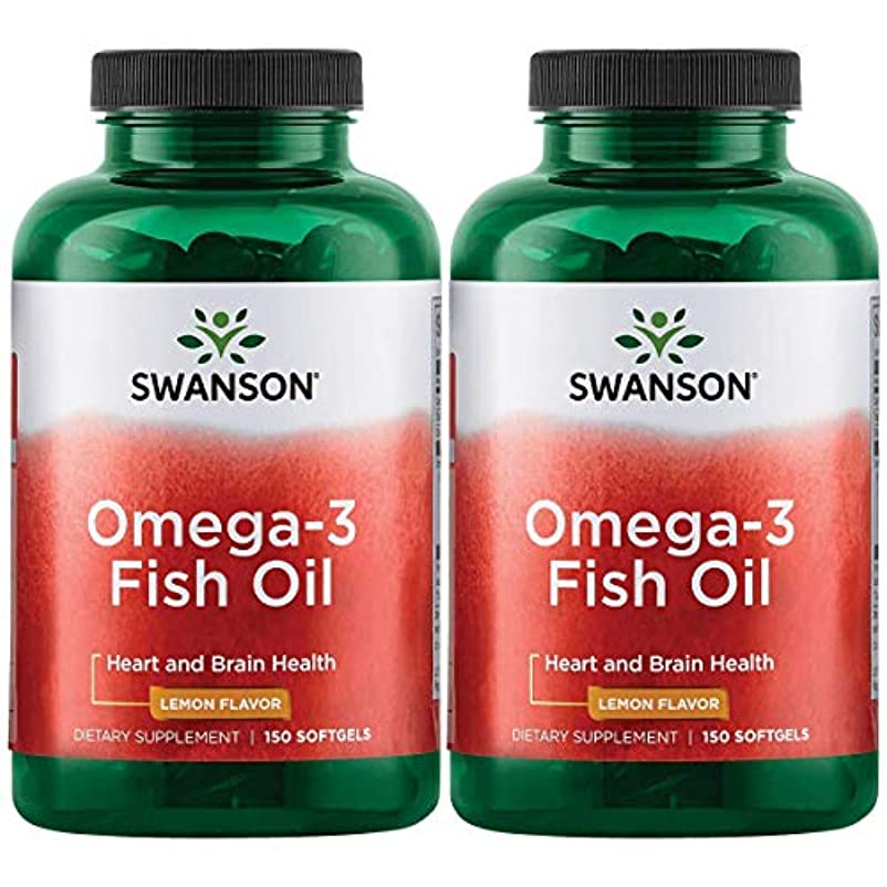 血統パーセント葉っぱSwanson Omega 3 Fish Oil EPA + DHA Lemon Flavor 150粒×2個