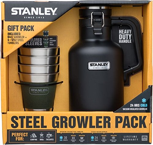 [해외]Stanley 클래식 Growler 2qt과 모험 스태킹 스틸 Tumblers set-matte 10 - 02116 - 016/Stanley Classic Growler 2qt and Adventure Stacking Steel Tumblers set-matte 10 - 02116 - 016
