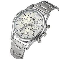 腕時計、siviki Manファッションビジネスクリスタルステンレススチールアナログクオーツ手首時計クロック ホワイト