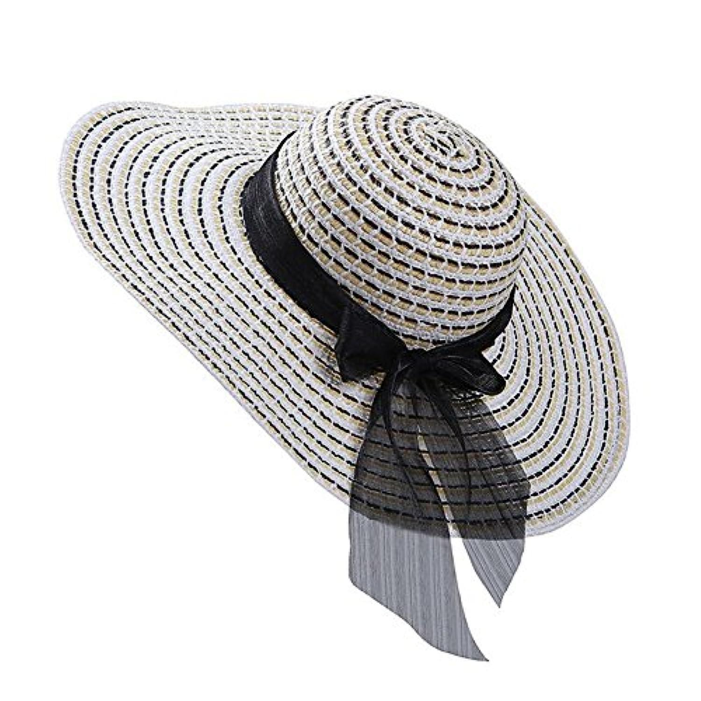 Roffatide レディース つば広 サイズ調節可 折りたたみ可 女優帽子 麦わら帽子 春夏 UVカット 旅行 ビーチ 自転車 56-58cm