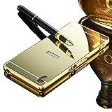 Vandot Sony Xperia Z2 ケース、ブリンブリン 高級 超薄 スプリット タイプ 分離式 ハード アルミ 金属 フレーム PC 鏡面 保護 バック ケース 落下防止 衝撃吸収 おしゃれ ファッション-ゴールド