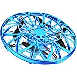 Mini UFO Flying Ball Toys Helicopter Drone with LED Light for Kids and Adults, Infrared & Gravity Sensor Aircraft Saucer, Indoor and Outdoor Games Fun Gadgets Toy Gifts, Blue