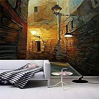 Ansyny 通りのポーチの背景の壁紙に描かれた油絵-330X210CM
