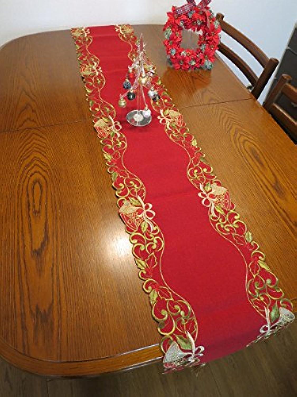 (テーブル ランナー レッド ヒイラギ ベル) クリスマス 飾り クロス