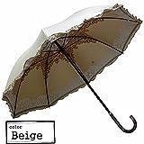 Clack 傘 スライド式 手開き傘 晴雨兼用 紫外線99%カット 内側 レースプリント 上品デザイン フリル UV対策 日傘 雨傘 レディース ベージュ Free 【正規品】