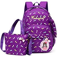 School Backpack Nylon School Bags Set for Girls Female Backpack Schoolbags Backpack Feminine Book Bag Mochila Infantil (Color : Purple, Size : -)