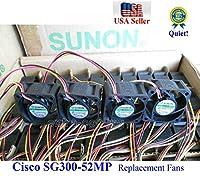 4個パック 超冷却 静音バージョン 交換用 Sunon ファン Cisco SG300-52MP 13dBAノイズ用
