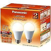 パナソニック LED電球 口金直径26mm 電球40W形相当 電球色相当(4.4W) 一般電球・広配光タイプ 2個入り 密閉形器具対応 LDA4LGEW2T