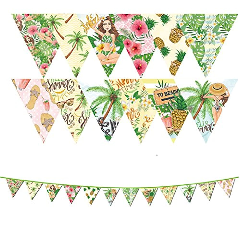 Hawaii Luauフラグペナントバナーの祭パーティードレスUp、レトロ装飾、ウェディング小道具Pull花