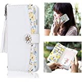 アイフォン7/8 ケース 手帳型 スマホケース iphone6s/6 携帯ケース かわいい 人気 女性 おしゃれ 耐久性 全面しっかりカバー 花柄(iPhone 6/6s/7/8, ホワイト)