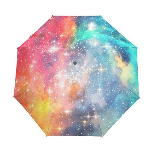 ユキオ(UKIO) 折り畳み傘 軽量 自動開閉 レディース 傘 梅雨対策 美しい星空 おしゃれ 宇宙柄 ブルー きらきら カラフル 頑丈な8本骨 耐強風 撥水 三つ折り 丈夫 収納ケース付 携帯用傘