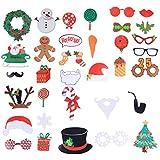 BESTOYARD クリスマスフォトブース小道具クリスマスセルフプロップアクセサリー写真ブースキットクリスマスパーティー用品35個