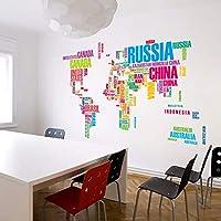 Linshel カラフルな世界地図アート女の子男の子子供部屋リビングルームの装飾Pvc防水ウォールステッカーDiy壁画アップリケ