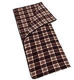 (サモルックス) Sumolux インナーシュラフ 寝袋 フリース 毛布 ブランケット 大判 あったかい 多機能 膝掛け アウトドア 車中泊 洗える ファスナー付き 封筒型 ブラウンチェック