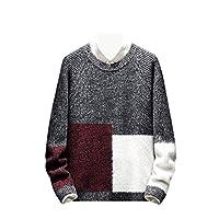 YAXINHE Men Comfy Pullover Knitwear Fall Winter Color Block Warm Sweaters Black 2XL