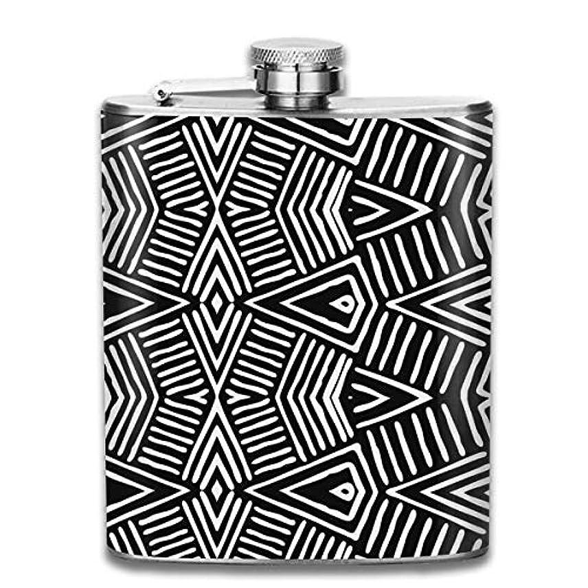 遮る煩わしいモンゴメリー幾何の図案フラスコ スキットル ヒップフラスコ 7オンス 206ml 高品質ステンレス製 ウイスキー アルコール 清酒 携帯 ボトル