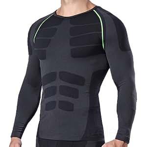 azalee スポーツシャツ コンプレッションウェア 長袖 吸汗速乾 メンズ ブラック/レッド M
