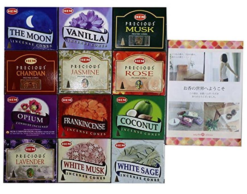 練習移民急襲HEM社 インド製 コーンタイプ香 12種類の香り 合計12箱120個入(アソートセット)
