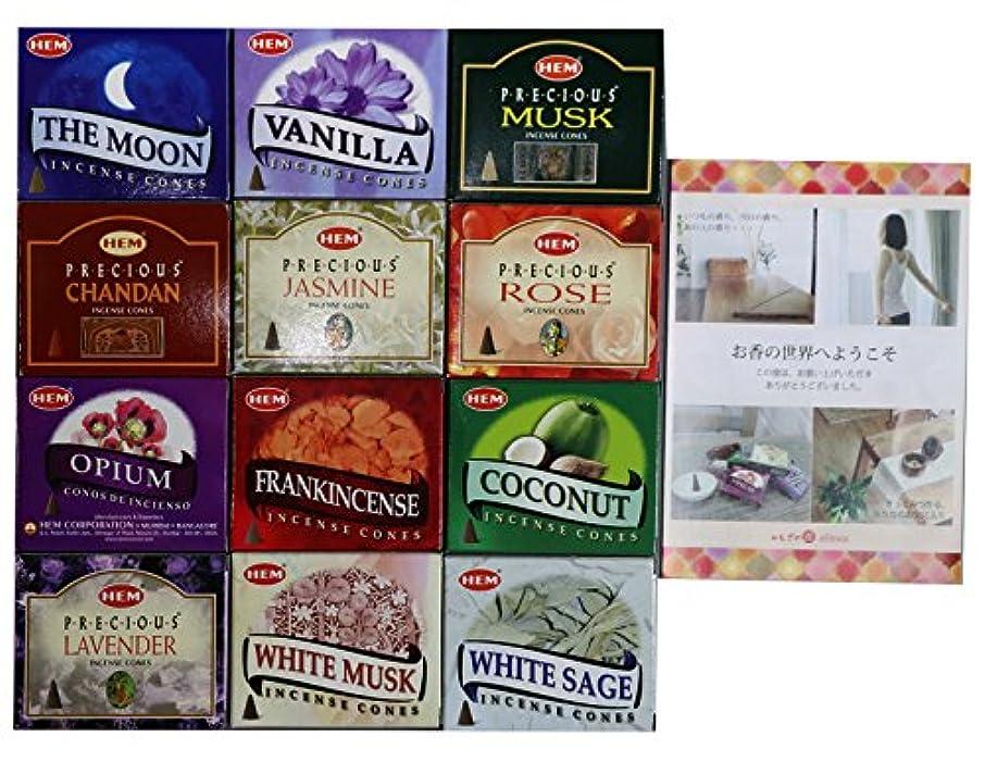 サリー太鼓腹絶対にHEM社 インド製 コーンタイプ香 12種類の香り 合計12箱120個入(アソートセット)