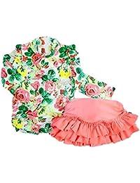 (カエナリエ) Kaenarie 子供 セパレート 水着 花柄 フリル UV キャップ付き 女の子 キッズ ジュニア