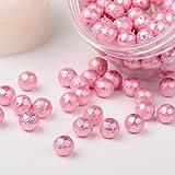 PandaHall Elite 8mm 約150個 コットンパール ガラスパール ラウンド ビーズ 丸玉 手作り用品 DIY用 箱入り ピンク
