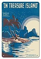 22cm x 30cmヴィンテージハワイアンティンサイン - トレジャー島で - エドガーレスリーの言葉 - ジョー・バークの音楽 - ビンテージな五線紙 によって作成された クリフ・ミスカ c.1935