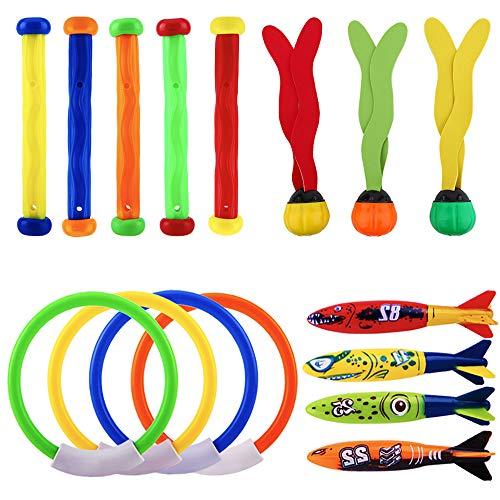 スイミングプールおもちゃ 4&ダイビングリング/5&ダイビングスティック/3&海の植物/4&魚雷サメ 潜水用 水泳 訓練 子供用 (16点セット)