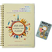 "2018-2019 Academic Year Planner Monthly & Weekly Calendar Daily Notebook%カンマ%DIY Cover,Spiral Twin-Wire Binding,5.75""x 8.25"",Thick Paper,Sufficient Space City Watercolor Skyline [並行輸入品]"