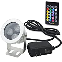 Yangcsl 10W IP68 Waterproof Outdoor RGB Landscape Light LED Flood Light with Remote Control,2 Meters Cable and Power Supply Adapter for Garden,Lawn,Pool,Aquarium,Fountain [並行輸入品]