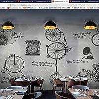 Mingld コンチネンタルレトロカスタム3D写真大壁画機械時計文字コーヒーバー西レストランシルク布壁画-200X140Cm