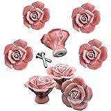 Knobs, 8Pcs Elegant Pink Rose Pulls Flower Ceramic Cabinet Knobs Cupboard Drawer Pull Handles + Scre