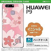 P9 スマホケース HUAWEI ケース ファーウェイ ピーナイン イニシャル 花柄・サクラ ライトピンク nk-p9-062ini S