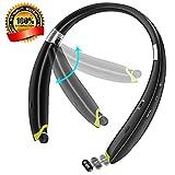 Bluetooth 4.1ワイヤレスヘッドセット スポーツイヤホン ネックバンド型 長時間再生 防水 防滴 マイク内蔵 ノイズキャンセルテクノロジー搭載 通話可能 iPhone iPad Androidなどの機種に対応(ブラック)