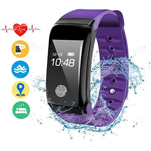 ANBURT スマートウォッチ 血圧計 心拍計 歩数計 スマートブレスレット 睡眠検測 アラーム 多機能 着信電話通知 スマート電子腕時計 IP67防水 iPhone/iOS/Android 日本語対応 (パープル)