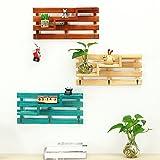 Doremy 壁掛け棚 3層 壁掛けラック 飾り棚 木製 ウォールシェルフ アンティーク調 おしゃれ - 3つのフック付き (バーリウッド)