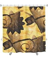 "Gear New""Watercolor Yellow Black"" Shower Curtain, 74"" X 71"" [並行輸入品]"