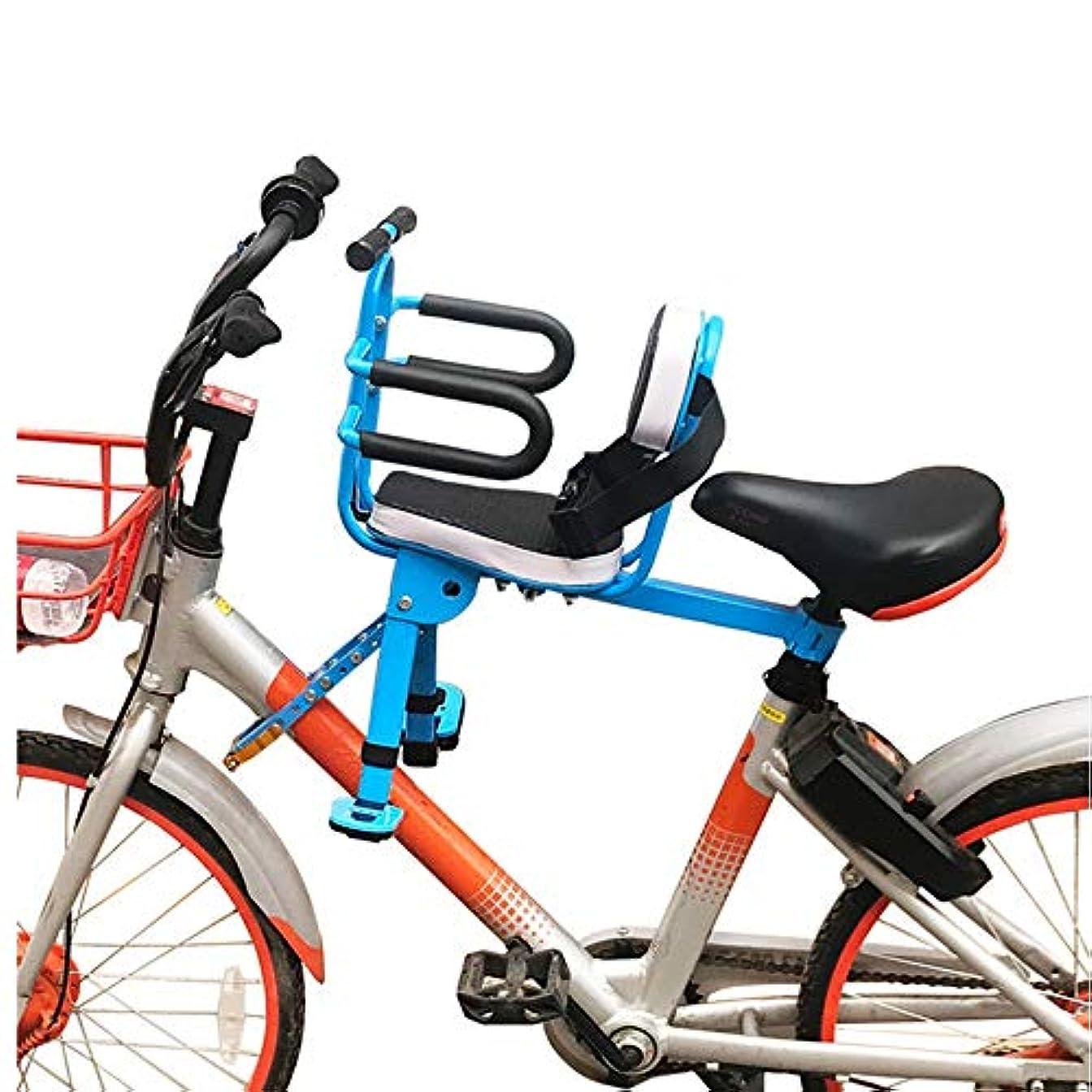 句わずらわしい動力学折り畳み式のチャイルドバイクシート 電気自動車フロントベビーセーフティシート折りたたみ自転車マウンテンバイク自転車チャイルドシートクイックリリースハーフ全周 (色 : 青, サイズ : ワンサイズ)
